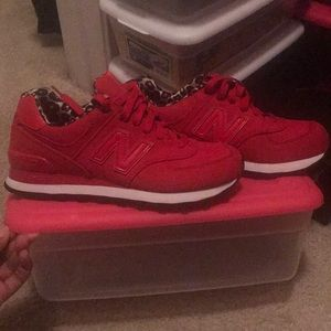 Red/Leopard New Balance sneakers